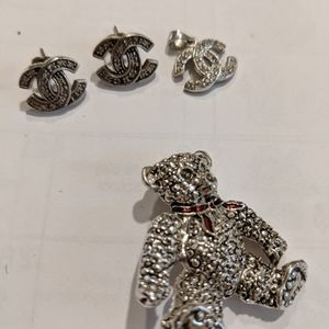 Jewelry - Marked 925 Silver Earrings And Pin